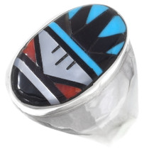 Turquoise Coral Inlay Zuni Mens Ring 35895