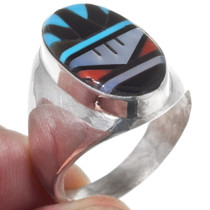 Zuni Geometric Pattern Inlay Ring 35895