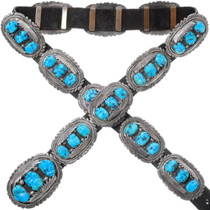 Zuni Old Pawn Sleeping Beauty Turquoise Concho Belt 35901