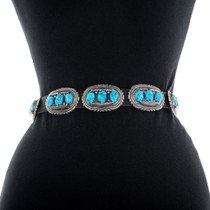 Authentic Robert Leekya Turquoise Silver Concho Belt 35901