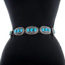Authentic Robert Leekya Turquoise Silver Concho Belt 35901