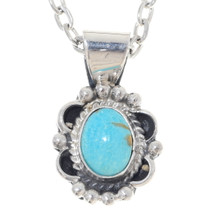 Turquoise Sterling Silver Pendant With Chain 35914