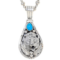 Navajo Turquoise Silver Bear Pendant 35917
