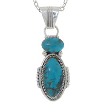 Blue Turquoise Silver Navajo Pendant 35919