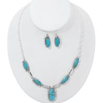 Navajo Turquoise Silver Y Necklace Set 35920