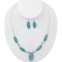 Navajo Turquoise Silver Y Necklace Set 35920