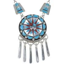 Hand Made Zuni Sunface Necklace Earrings Set 35921