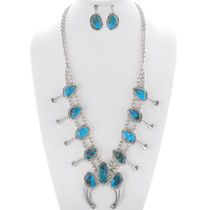 Turquoise Silver Squash Blossom Necklace Set 35922