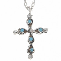 Zuni Turquoise Coral Reversible Cross Pendant 35923