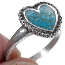 Navajo Made Turquoise Chip Inlay Heart Ring 35924