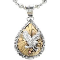 Navajo Gold Silver Eagle Pendant 32164