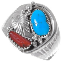Navajo Turquoise Coral Silver Mens Ring 35926