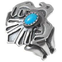 Navajo Turquoise Silver Thunderbird Ring 35935