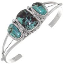 Turquoise Silver Navajo Cuff Bracelet 35939