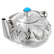 Miniature Navajo Silver Turquoise Teapot 35953