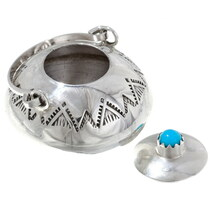 Navajo Hand Crafted Sterling Silver Kettle Pot with Handle 35955