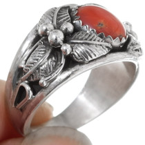 Sterling Silver Western Coral Ladies Ring 35959