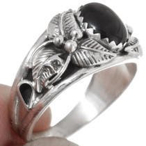 Black Onyx Silver Ladies Ring 35960