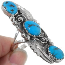 Three Stone Turquoise Pointer Ring 35961
