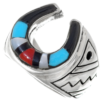 Zuni Inlaid Turquoise Shell Horseshoe Mens Ring Sterling 35963