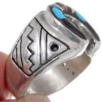 Turquoise Shell Horseshoe Mens Ring Sterling 35963