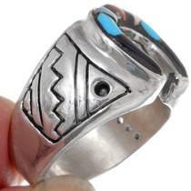 Turquoise Shell Horseshoe Mens Ring Sterling 35963
