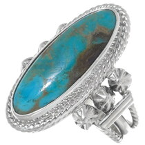 Turquoise Silver Navajo Ladies Ring 35965