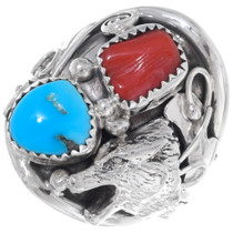 Navajo Turquoise Coral Silver Wolf Ring 35968