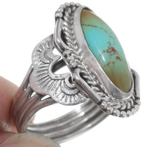 Scalloped Shank Turquoise Silver Ladies Ring 35969