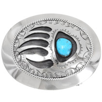 Navajo Turquoise Silver Bear Claw Belt Buckle 22797