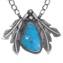 Navajo Turquoise Silver Feather Pendant Necklace 35983