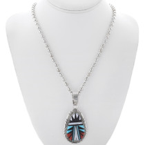 Geometric Native American Inlay Zuni Pendant 35984