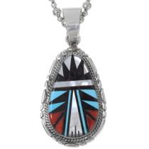 Zuni Turquoise Inlay Pendant 35984