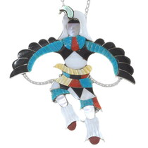 Zuni Inlaid Eagle Dancer Kachina Pendant 35985
