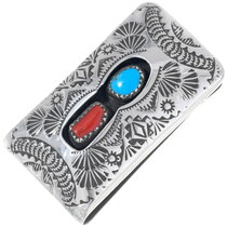 Turquoise Coral Sterling Silver Money Clip 35994