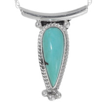 Green Turquoise Sterling Silver Navajo Pendant 35997