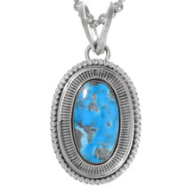 Large Natural Turquoise Pendant Bead Necklace 36002