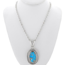 Navajo Sterling Silver Kingman Turquoise Pendant 36002