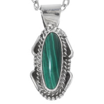 Sterling Silver Malachite Pendant 38005