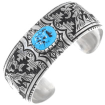 Detailed Sterling Silver Navajo Cuff Bracelet 38014