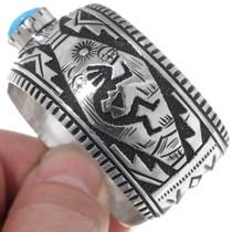 Navajo Kingman Turquoise Kokopelli Cuff Bracelet 38016