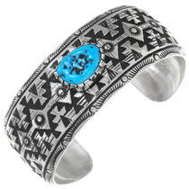Navajo Sterling Silver Turquoise Bracelet 34827
