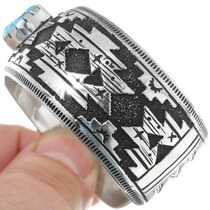 Artistic Native Made Sterling Silver Bracelet Navajo Rug Pattern 38018