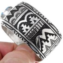Artistic Navajo Geometric Design Sterling Silver Overlay Bracelet 38019