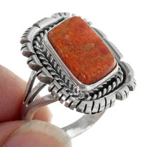 Navajo Design Sterling Silver Ring Set with Coral 38024