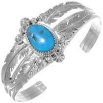 Navajo Turquoise Silver Feather Ladies Bracelet 38025