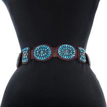 Turquoise Cluster Navajo Design Vintage Concho Belt 38026