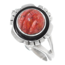Ladies Apple Coral Silver Navajo Ring 38030