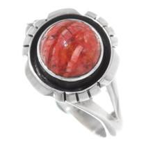 Ladies Apple Coral Silver Navajo Ring 38030