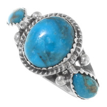 Navajo Three Stone Turquoise Silver Ring 38031